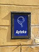Sign of a polish chemists shop, Poland