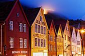 Wooden houses in Bryggen, Bergen. Hordaland, Norway