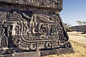 Near Cuernavaca City. Ceremonial Center of Xochicalco. Quetzalcoatl Piramid. Mexico.
