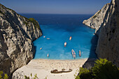 Smuggler's Cave, the famous beach with Ship Wreck. Zakynthos Island, Greece.