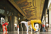 Break dance under the arcades of the Opera, Lyon. Rhône-Alpes, France