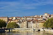 River Saone and the quarter of Croix Rousse, Lyon. Rhône-Alpes, France