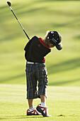 ir, Dark-haired, Daytime, Exterior, Fit, Full-body, Full-length, Golf, Golf club, Golf clubs, Golf co