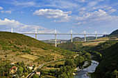 View of the Viaduc de Millau from Peyre Village in the Tarn Valley. Midi-Pyrénées. France.