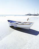 Lifeguard boat on beach, Atlantic City, New Jersey, USA