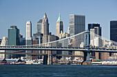 Downtown skyline, East River, Manhattan, NYC, USA
