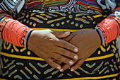 KUNA NATIVE INDIAN WOMAN HANDS MOLA PATTERN CLOTHES PANAMA CITY REPUBLIC OF PANAMA