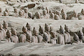 Terracotta warriors from the tomb of First Emperor Qinshihuang in Xi'an Museum. Shaanxi, China