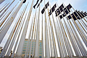 38 huge black flags bearing a white star in front of the U.S. diplomatic mission in Havana to mourn for the victims of the 1961 Bay of Pigs invasion, El Malecón. Havana, Cuba