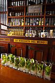 Mojito, La Bodeguita del Medio, a bar in Old Havana (Habana Vieja) popularized by Ernest Hemingway. Havana Vieja District, Havana, Cuba