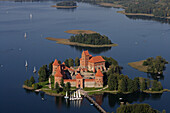 Gothic castle (XIV-XVth century) on Lake Galve. Trakai. Lithuania