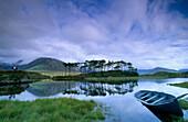 Seenlandschaft mit Spiegelung, Ballynahinch Lake, Connemara, Co. Galway, Republik Irland, Europa