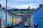 Houses in Bogside, Derry, Co. Londonderry, Northern Ireland, Great Britain, Europe. The Bogside Massacre, Bloody Sunday, was an incident in 1972 where civil rights protesters were shot by members of the Parachute Regiment. 14 people died, among whom 8 wer