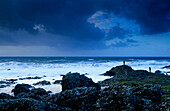 Giant's Causeway, Basalt Columns at the coastline under dark clouds, County Antrim, Ireland, Europe, The Giant's Causeway, World Heritage Site, Northern Ireland
