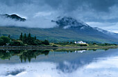 The mountain Croagh Patrick at Westport Bay in the fog, County Mayo, Ireland, Europe