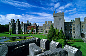 View at the old walls and battlements of Ashford Castle, County Mayo, Ireland, Europe