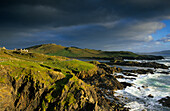 Coast area and ocean under rain clouds, Achill Island, County Mayo, Ireland, Europe