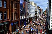 Crowd at shopping street Grafton Street, Dublin, Ireland, Europe