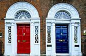 Colourful front doors, Merrion Square, Dublin, Ireland, Europe