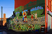 Murals on the wall of a house, Belfast, County Antrim, Ulster, Northern Ireland, United Kingdom, Europe
