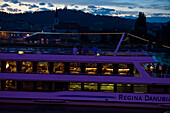 Detail of an excursion boat on the Danube at night, Linz, Upper Austria, Austria