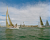 Sailing boats at full speed in front of Waitemata Harbour, Auckland, North Island, New Zealand