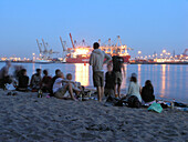 Group of young people on the City Beach, Hamburg, Germany
