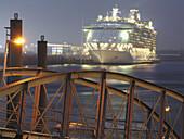 Freedom of the Seas anchoring at Hamburg Cruise Center, Hamburg, Germany