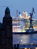 Cruiser Freedom of the Seas in dockyard, Hamburg, Germany