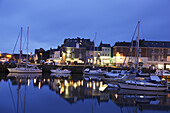 View over harbor and village in the evening, Padstow, Cornwall, England, United Kingdom