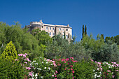 The castle Chateau Suze-la-Rousse behind blooming bushes and trees, Drome, Provence, France