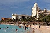 Aruba, Palm Beach, West Indies, Dutch Carribean, Central America, local people at the beach on sunday, Riu Hotel Casino