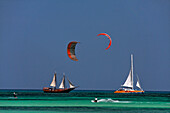 West Indies, Aruba, Kite Surfer, Thre Master sailing boat, Palm Pleasure catameran