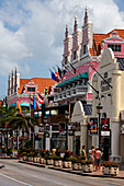 West Indies, Aruba, Oranjestadt, dutch style architecture at royal Plaza Shopping Mall