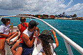 West Indies, Aruba, boat to De Palm Island, private Island famous for Sea Trek, Scuba diving and snorkeling