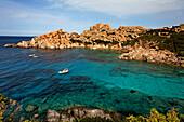 Italy Sardinia Capo Testa bay with cristal clear water, bizarre rock landscape