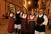 Italy Sardinia Olbia, dance performance with  traditional costumes