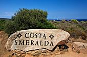 Italy Sardinia Rock with insription Costa Smeralda