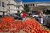 France, Nice, Cours de Saleya, market stall with bio tomatoes