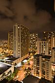 Honolulu by Night, Oahu, Pacific Ocean, Hawaii, USA