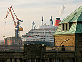 Cruise ship Queen Mary 2 at the shipyard, Hanseatic City of Hamburg, Germany