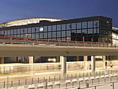 Airport terminal at night, Hamburg, Germany