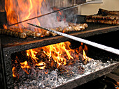 Grill with Coburger fried sausages, Coburg, Franconia, Bavaria, Germany
