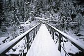 Bridge over the river Inn, Scuol, Lower Engadine, Engadine, Grisons, Switzerland