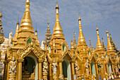 Golden Stupas of the Shwedagon Pagoda in the sunlight, Yangon, Rangoon, Myanmar, Burma