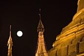 Full moon over the the golden stupa of the Botataung Pagoda at Yangon, Rangoon, Myanmar, Burma