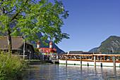 Excursion boat at landing stage, St. Bartholomew, King's Lake, Berchtesgade, Upper Bavaria, Bavaria, Germany