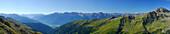 panorama from notch Obere Seescharte across valley Debanttal to Lienzer Dolomiten range, Zettersfeld and Schleinitz, Schobergruppe range, Hohe Tauern range, National Park Hohe Tauern, East Tyrol , Austria