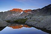 Schafkamp in alpine glow, Stubai Alps, Stubai, Tyrol, Austria