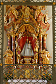 madonna in chapell Lorettokapelle, pilgrimage chapell, interior view, Oberstdorf, Allgaeu range, Allgaeu, Swabia, Bavaria, Germany